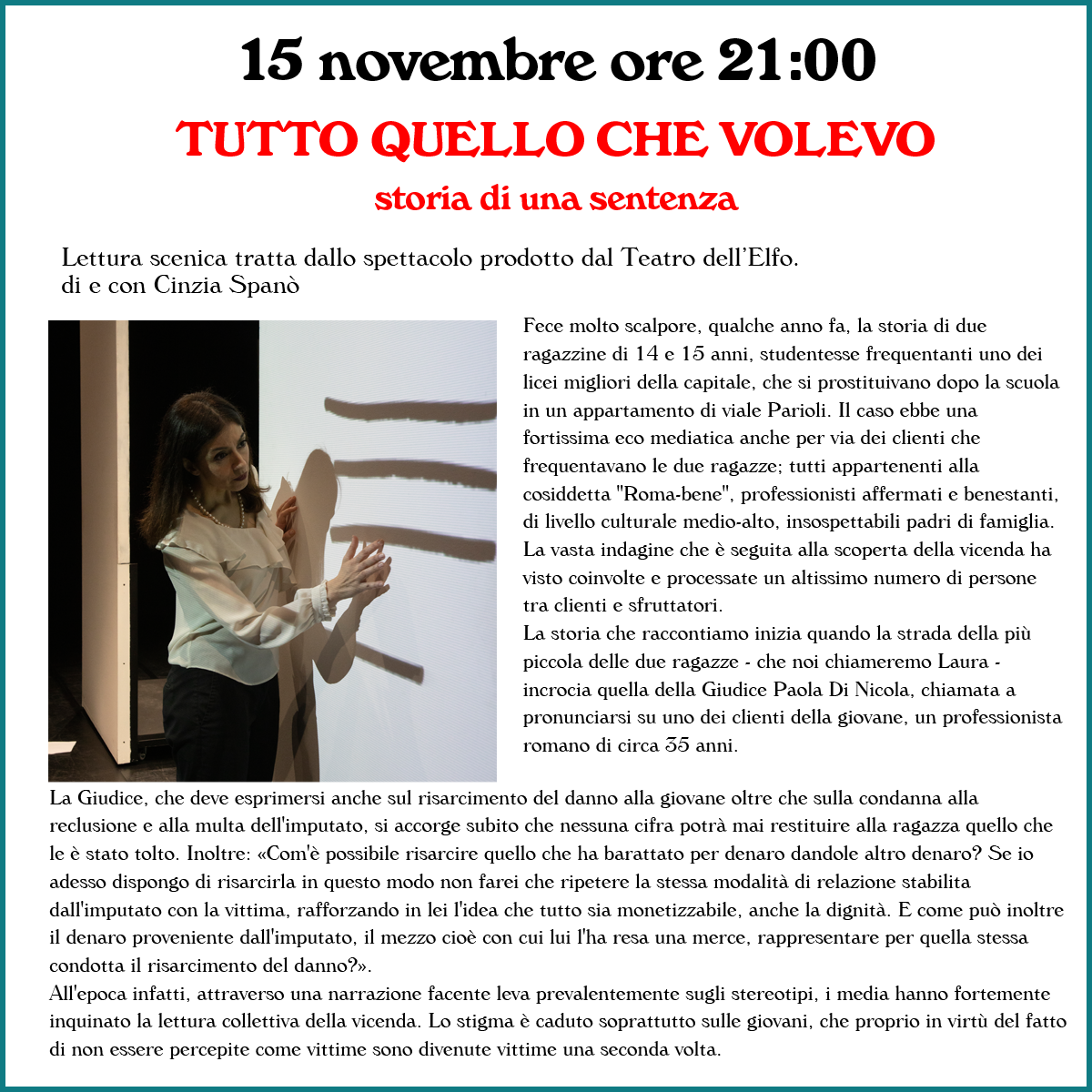 15 novembre ore 21:00 - TUTTO QUELLO CHE VOLEVO
